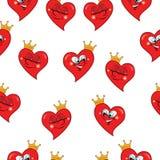 Teste padrão sem emenda engraçado dos corações Imagens de Stock