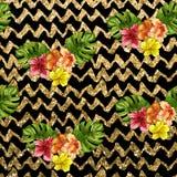 Teste padrão sem emenda - entregue a flor tropical tirada em linhas da viga do brilho Foto de Stock