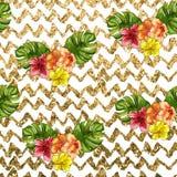 Teste padrão sem emenda - entregue a flor tropical tirada em linhas da viga do brilho Fotografia de Stock
