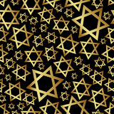 Teste padrão sem emenda eps10 da religião escura da estrela de David do ouro Fotografia de Stock