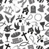 Teste padrão sem emenda eps10 do grayscale dos símbolos da religião da cristandade Fotografia de Stock Royalty Free