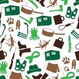 Teste padrão sem emenda eps10 dos ícones simples do habitante da floresta Fotografia de Stock Royalty Free