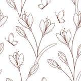 Teste padrão sem emenda esboçado com flores e borboleta Fotografia de Stock Royalty Free
