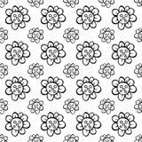 Teste padrão sem emenda esboçado da flor Textura preto e branco do vetor Fotos de Stock