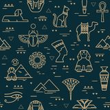 Teste padrão sem emenda escuro dos símbolos, dos marcos, e dos sinais de Egito dos ícones em uma linha estilo ilustração royalty free