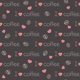 Teste padrão sem emenda eu amo o café Foto de Stock