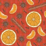 Teste padrão sem emenda Fatias alaranjadas, tangerina, especiarias Imagem de Stock