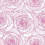 Teste padrão sem emenda feito de flores cor-de-rosa lineares Imagem de Stock Royalty Free