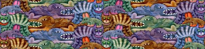 Teste padrão sem emenda feito dos cães, dos gatos e dos ratos em quatro máscaras ilustração stock