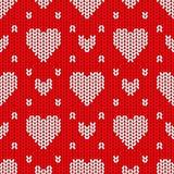 Teste padrão sem emenda feito malha brilhante do dia de Valentim Fotografia de Stock