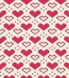 Teste padrão sem emenda feito malha com corações Ornamento romântico para a camiseta Vetor Imagens de Stock Royalty Free