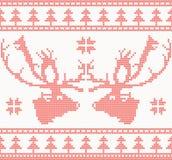 Teste padrão sem emenda feito malha dos cervos na cor vermelha ilustração royalty free