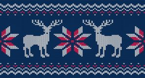 Teste padrão sem emenda feito malha para a camiseta Fundo do vetor com cervos Imagens de Stock Royalty Free