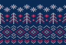 Teste padrão sem emenda feito malha para a camiseta Vetor do fundo do inverno ilustração stock