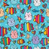 Teste padrão sem emenda feliz do céu da mosca do pássaro do gato ilustração royalty free