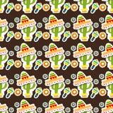 Teste padrão sem emenda Feriado mexicano Cinco de Mayo Bloco tirado mão Imagens de Stock Royalty Free