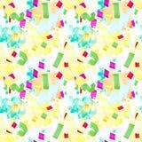 Teste padrão sem emenda festivo com manchas e confetes ilustração stock