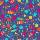 Teste padrão sem emenda festivo do carnaval feliz com fogo de artifício Rocke da máscara Imagem de Stock