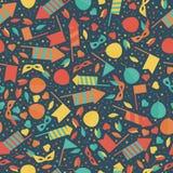 Teste padrão sem emenda festivo do carnaval feliz com fogo de artifício Rocke da máscara Imagem de Stock Royalty Free