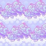 Teste padrão sem emenda festivo do inverno do estilo do conto de fadas Nuvens ornamentado encaracolado com flocos de neve de qued Imagens de Stock