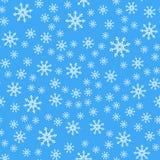 Teste padrão sem emenda Flocos de neve brancos no fundos azuis Para o papel de empacotamento imagens de stock royalty free