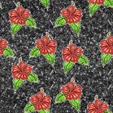 Teste padrão sem emenda - a flor exótica vermelha no verde brilha fundo Foto de Stock Royalty Free