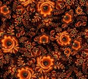 Teste padrão sem emenda floral alaranjado no fundo preto no estilo do hohloma da tradição do russo Imagem de Stock Royalty Free