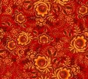 Teste padrão sem emenda floral alaranjado no fundo vermelho no estilo do hohloma da tradição do russo Fotografia de Stock Royalty Free