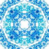 Teste padrão sem emenda floral azul no estilo do gzhel ilustração do vetor