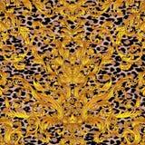 Teste padrão sem emenda floral barroco do vintage no ouro sobre o branco Orna ilustração royalty free