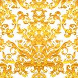 Teste padrão sem emenda floral barroco do vintage no ouro sobre o branco Orna ilustração stock
