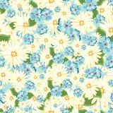 Teste padrão sem emenda floral bonito Botões brilhantes, folhas, flores para cartões Loja de flor Foto de Stock Royalty Free