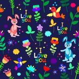 Teste padrão sem emenda floral bonito com coelhos, pássaros e flores Foto de Stock