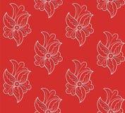 Teste padrão sem emenda floral branco em um fundo vermelho Foto de Stock