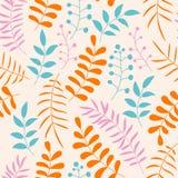Teste padrão sem emenda floral colorido bonito com ramos e folhas Fotografia de Stock Royalty Free