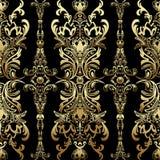 Teste padrão sem emenda floral com arabesque, ornamento oriental do damasco do ouro, projeto luxuoso ilustração do vetor