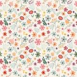 Teste padrão sem emenda floral com as flores e as plantas tiradas mão Imagem de Stock
