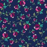 Teste padrão sem emenda floral com as rosas no fundo azul ilustração royalty free
