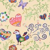 Teste padrão sem emenda floral com flores, pássaro, corações Fotos de Stock