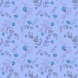 Teste padrão sem emenda floral com fundo azul das rosas Imagens de Stock Royalty Free