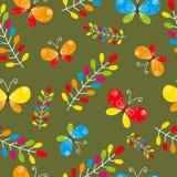 Teste padrão sem emenda floral com pássaro e borboletas Fotografia de Stock Royalty Free