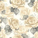 Teste padrão sem emenda floral da aguarela Rosas do vintage Fotografia de Stock Royalty Free