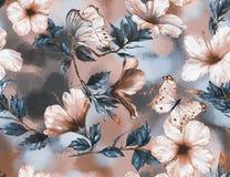 Teste padrão sem emenda floral da aquarela desenhado à mão com as flores macias e as borboletas brancas e cor-de-rosa do hibiscus ilustração stock