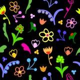 Teste padrão sem emenda floral da garatuja bonito Foto de Stock Royalty Free