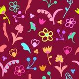 Teste padrão sem emenda floral da garatuja bonito Fotografia de Stock Royalty Free