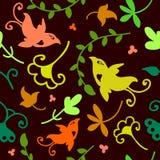 Teste padrão sem emenda floral da garatuja bonito com pássaros Fotos de Stock Royalty Free
