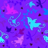 Teste padrão sem emenda floral da garatuja bonito com pássaros Imagens de Stock Royalty Free