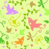 Teste padrão sem emenda floral da garatuja bonito com pássaros Foto de Stock Royalty Free