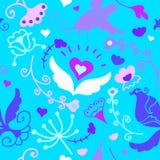 Teste padrão sem emenda floral da garatuja bonito com pássaros Imagens de Stock