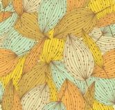 Teste padrão sem emenda floral da garatuja. Fundo linear infinito bonito com folhas. Folhas do vintage ilustração royalty free